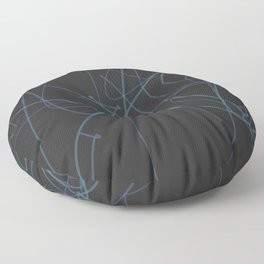 Squiggle art 2 - black background and blue squiggle Floor Pillow