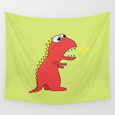 Cute Cartoon Dinosaur With Fire Breath Wall Tapestry