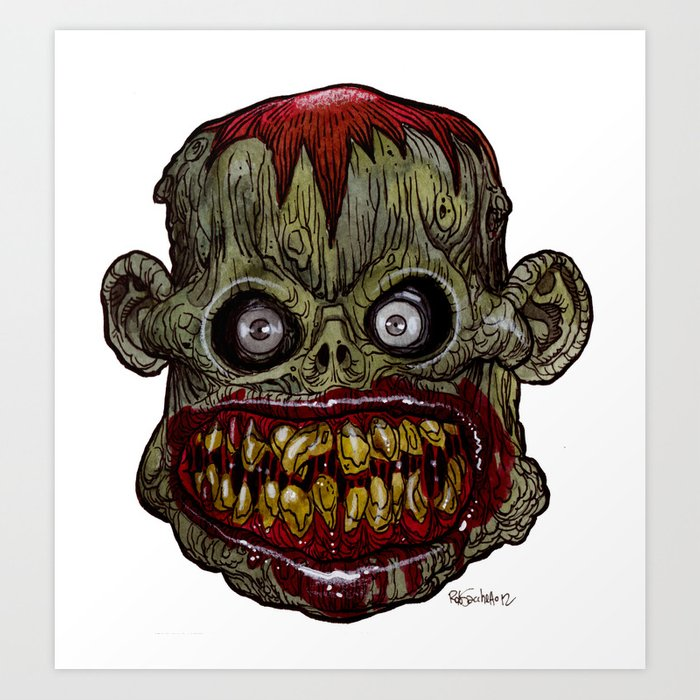 heads of the living dead zombies hungry harold zombie art print - Zombie Pictures To Print