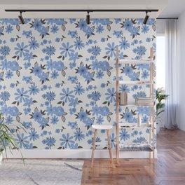 Blue flowers doodle pattern Wall Mural