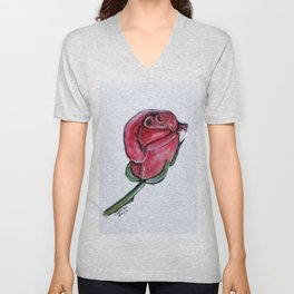 Solitary Rose Unisex V-Neck
