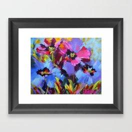 Wild Blue Poppy Garden Framed Art Print