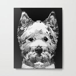 Black And White West Highland Terrier Dog Art Sharon Cummings Metal Print