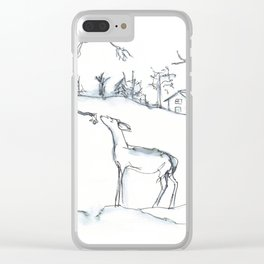 Winter Scene with Deer, watercolor and ink Clear iPhone Case