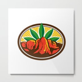 Canyon With Hemp Leaf Oval Retro Metal Print
