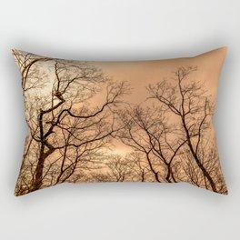 Naked trees, orange cloudy sky Rectangular Pillow