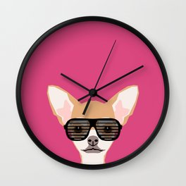 Misha with Glasses - Aviator glasses, hipster glasses, chihuahua, dog, cute, pet, cute dog Wall Clock
