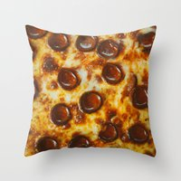 cheese Throw Pillows featuring Cheese  by Chelsea Victoria