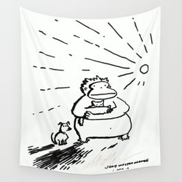 Ape, Puppy, and Kitten Bravely Face the New Day Wall Tapestry