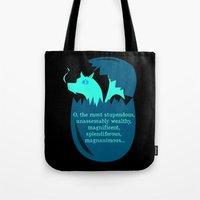 smaug Tote Bags featuring O Smaug by Fairly Artful Artworks