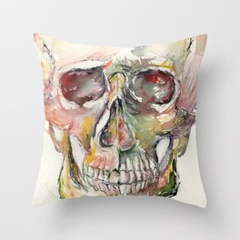 Human Skull Painting Throw Pillow