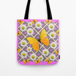 Yellow Butterfly on Lilac-pink Shasta Daisy Grey Pattern Tote Bag