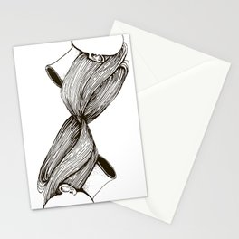 twins with mobius hairs Stationery Cards