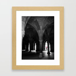 Doctor Flashart with Red Umbrella at University of Glasgow Framed Art Print