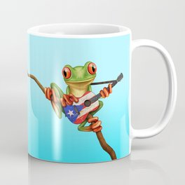 Tree Frog Playing Acoustic Guitar with Flag of Puerto Rico Coffee Mug