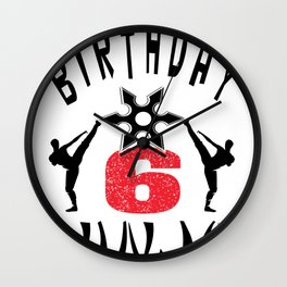 Kids Ninja 6th B-Day Gifts for Boys And Girls Wall Clock