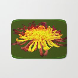 Golden-Russet Spider Chrysanthemum on Avocado  Bath Mat