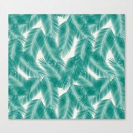 Green Tropical Palm Leaves Canvas Print