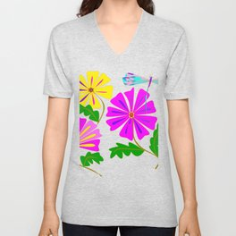 Three Flowers and a Damselfly Unisex V-Neck