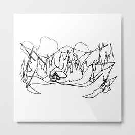 Cozy Winter Cabin :: Single Line Metal Print