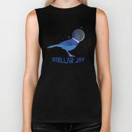 Stellar Jay Space Bird Funny Clever Bird Watcher Text Biker Tank