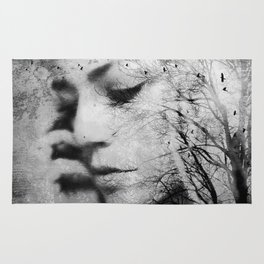 Another World - surreal dreamy portrait, woman nature photo, tree nature portrait Rug