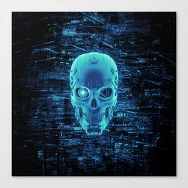 Gamer Skull BLUE TECH / 3D render of cyborg head Canvas Print