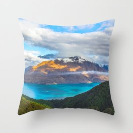 Beautiful Mountain Range Landscape Photo Blue Turquoise Waters Green Pine Trees Grey Clouds Throw Pillow
