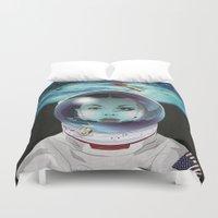 pilot Duvet Covers featuring Miss Space Pilot by SEVENTRAPS