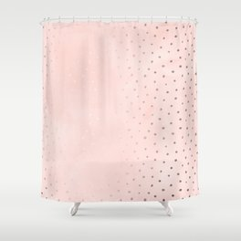 Rose Gold Pastel Pink Foil Paint Line Dots XXIII Shower Curtain