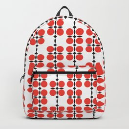 Ethnic geometric hanging flowers red on white Backpack