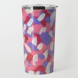 Pink and Purple Brushstrokes Art Travel Mug