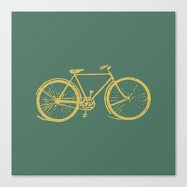 Gold Bicycle on Turquoise Canvas Print