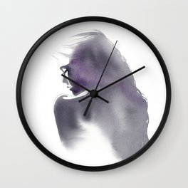 Dusk, Fashion Illustration in Watercolor Wall Clock