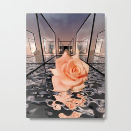 mirrored rose Metal Print