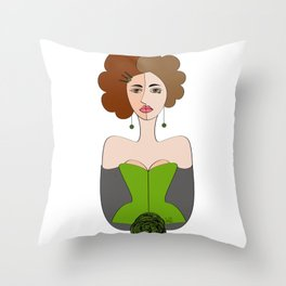 Ladies at the Saloon - The Green Saloon by IxCO Throw Pillow