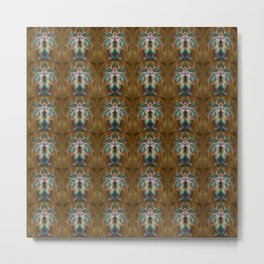 Orientální dekor - hnědozelená Metal Print