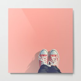 Pink sneakers on a peach-pink colored background. Ready for a walk? Metal Print