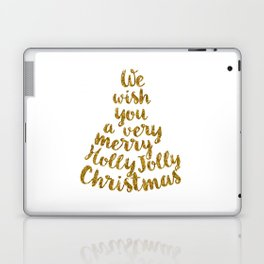 Holly Jolly Christmas - Gold glitter Typography Laptop & iPad Skin
