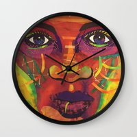 sandra dieckmann Wall Clocks featuring Say Her Name, dedicated to Sandra Bland by Bisa Butler