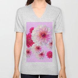 FUCHSIA CERISE-WHITE DAHLIA FLOWERS GARDEN ART Unisex V-Neck