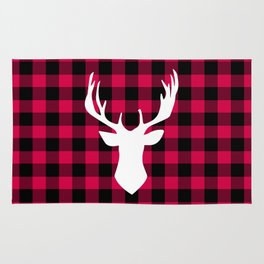 Winter Plaid Deer Rug