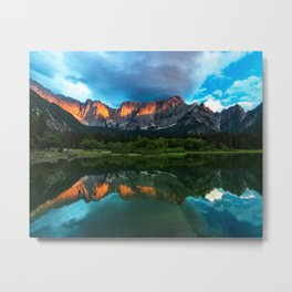 Burning sunset over the mountains at lake Fusine, Italy Metal Print
