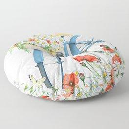 Blue bike & red poppy Floor Pillow