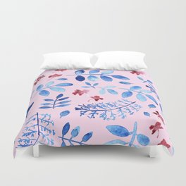 Hand painted modern navy blue pink watercolor floral leaves Duvet Cover