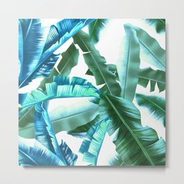 tropical banana leaves pattern turquoise Metal Print