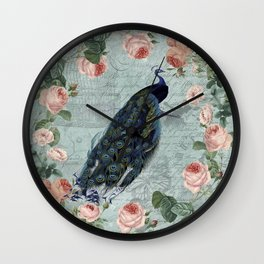 Vintage Victorian Peacock Bird and Roses Illustration Wall Clock