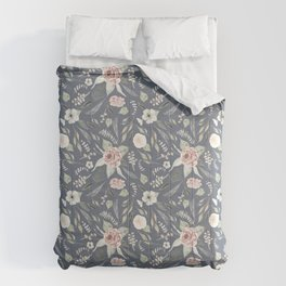 Vintage Blue Floral Pattern Comforters