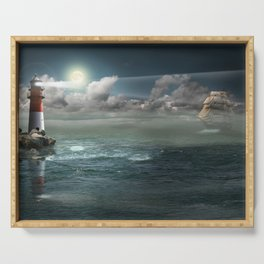 Lighthouse Under Back Light Serving Tray
