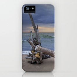 Sunrise on the Beach with Driftwood at Oscoda Michigan iPhone Case